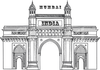 Mumbai city icon. Architectural symbol of Mumbai. Gateway of India. Indian architecture. Indian famous travel plalce.