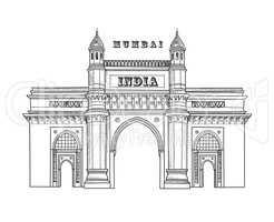 Mumbai city icon. Architectural symbol of Mumbai. Gateway of India. Indian architecture. Indian famous travel plalce.