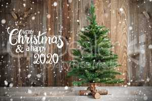 Christmas Tree, Calligraphy Merry Christmas And Happy 2020, Snow