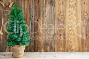 Wooden Brown Background, Christmas Tree, Copy Space