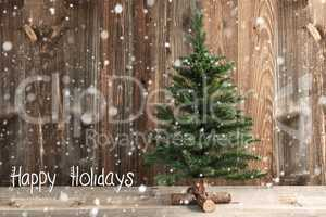 One Christmas Tree, Calligraphy Happy Holidays, Snow, Wooden Background