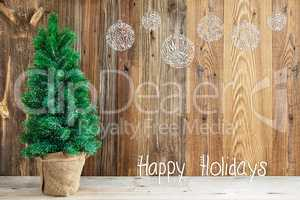 Wooden Background, Christmas Tree, Calligraphy Happy Holidays, Ornament