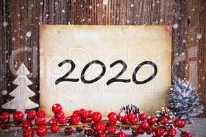 Red Christmas Decoration, Old Paper With Text 2020, Snow