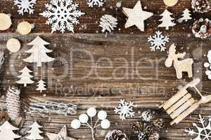 Wooden Background. Frame Of Christmas Decoration Like Fir Cone And Snowflakes