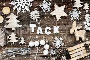 Wooden Christmas Decoration, Tack Means Thank You, Seld And Tree, Snowflakes