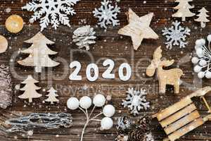 Rustic Wooden Christmas Decoration, 2020, Tree, Fir Cone And Sled, Snowflakes