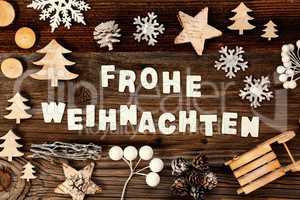 Decoration, Frohe Weihnachten Means Merry Christmas, Tree And Sled