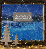 Window, Winter Scenery, Text 2020, Frame With Lake View