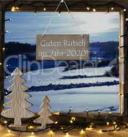 Window, Winter Landscape, Guten Rutsch Means Happy New Year 2020