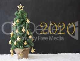 Christmas Tree, Text 2020, Black Concrete, Golden Decoration