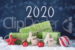 Green Christmas Gifts, Snow, Decoration, 2020, Cement Background