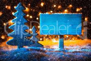 Sign, Christmas Tree, Copy Space, Fairy Lights, Snow
