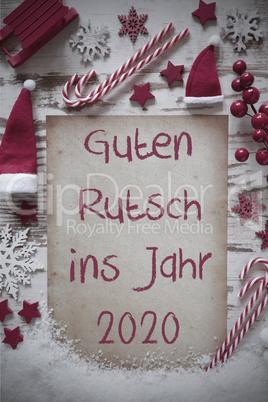Retro Christmas Flat Lay, Snow, Guten Rutsch 2020 Means Happy New Year