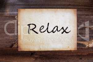 Old Paper, English Text Relax, Wooden Background