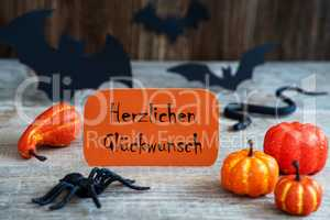 Orange Label, Glueckwunsch Means Congratulations, Scary Halloween Decoration