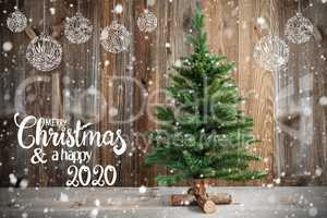 Christmas Tree, Calligraphy Merry Christmas And Happy 2020, Decoration, Snow