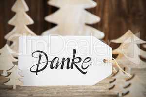 Christmas Tree, Label, Danke Means Thank You