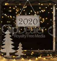 Window, Fairy Lights In Night, Text 2020, Christmas Tree