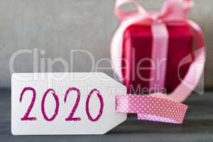 Pink Gift, Label, Text 2020, Present With Ribbon