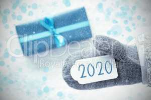 Turquoise Gift, Glove, Label With Text 2020, Snowflakes