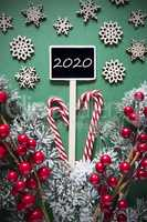 Retro Black Christmas Sign, Lights, Text 2020, Decoration