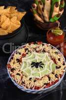 Halloween style taco dip