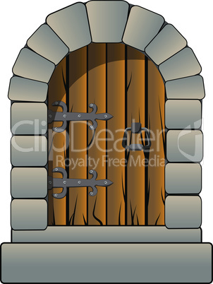 Castle door medieval vector cartoon style isolated on white. Clip art vintage antique door hinges and solid stones