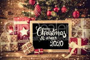 Christmas Tree, Present, Text Merry Christmas And A Happy 2020, Snowflakes