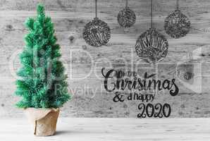 Christmas Tree, Ball, Merry Christmas And A Happy 2020, Black And White