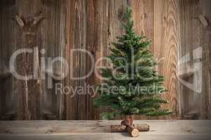 One Christmas Tree, Brown Rustic Wooden Background Or Texture