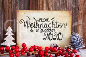 Christmas Decoration, Paper With Text Glueckliches 2020 Means Happy 2020