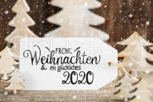 Christmas Tree, Label, Glueckliches 2020 Means Happy 2020, Snowflakes