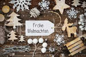 Label, Frame, Decoration, Frohe Weihnachten Means Merry Christmas, Snowflakes