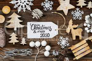 Label, Frame Of Christmas Decoration, Merry Christmas And Happy 2020