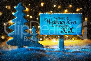 Christmas Tree, Lights, Snow, Glueckliches 2020 Means Happy 2020