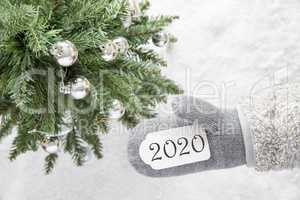 Christmas Tree, Glove, Text 2020, White Snow Background
