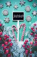 Vertical Black Christmas Sign, Lights, Text 2020, Frosty Look