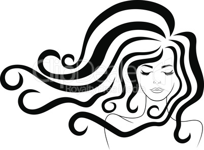 Beautiful woman with luxury hair in flow