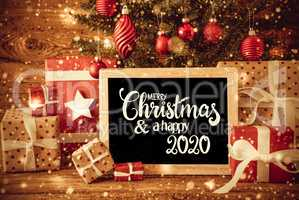Christmas Tree, Gift, Text Merry Christmas And A Happy 2020, Snowflakes