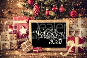 Christmas Tree, Gift, Snowflakes, Text Glueckliches 2020 Means Happy 2020
