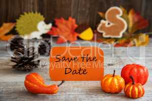 Label With Autumn Decoration, English Text Save The Date