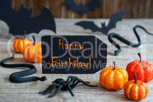 Black Label, Text Happy Birthday, Scary Halloween Decoration