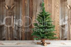 One Christmas Tree, Brown Wooden Background Or Texture