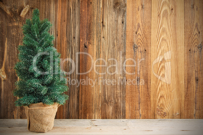 Christmas Tree, Rustic Brown Wooden Background, Copy Space