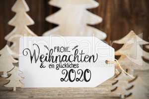 White Christmas Tree, Label, Glueckliches 2020 Means Happy 2020