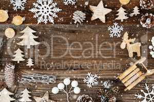 Wooden Background. Frame Of Christmas Decoration Like Tree And Snowflakes