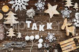 Wooden Christmas Decoration, Takk Means Thank You, Tree And Sled, Snowflakes