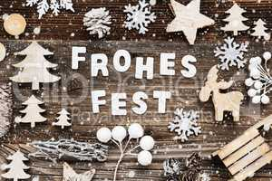Wooden Decoration, Frohes Fest Means Merry Christmas, Sled And Tree, Snowflakes