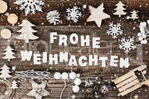 Decoration, Frohe Weihnachten Means Merry Christmas, Sled And Tree, Snowflakes