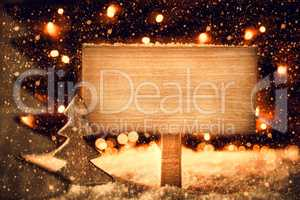 Christmas Tree, Snow, Copy Space, Snowflakes, Retro Sign